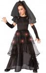 Horror-Braut Mädchen-Kostüm Gothic schwarz lang Haloween-Kostüm mit Licht KK