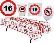 Party Set XL 45 Teile Geburtstag 16 Jahre Verkehrsschild