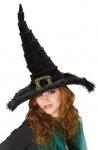 Hexenhut aus Samt mit Schnalle Hut Hexe schwarz Damen KK