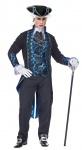 Barock Rokoko Kostüm Herren blau schwarz INKL. Zylinder Karneval Fasching KK