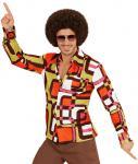Hippie Kostum Herren Hippiehemd 70er Jahre Herren-Kostüm Retro-Hemd orange braun
