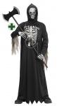 Horror Kostüm Kinder Warlock Dämon Kostüm mit Skelett Druck Maske Doppelaxt KK
