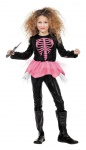 Skelett Kostüm Mädchen schwarz rosa bedrucktes Tutu-Kleid Fasching Karneval KK