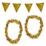 Goldene Hochzeit Party Set XL : Wimpelkette, 2 goldene Ketten