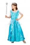 Eisprinzessin Mädchen Kostüm Schneekönigin Prinzessin Kleid blau lang Fasching K