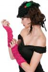 Handschuhe Gerafft Satin lang neon pink 80er Jahre Disco Karneval Fasching KK