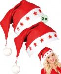 Weihnachtsmütze Weihnachtsmann Mütze Nikolausmütze leuchtende Sternen 2 Stück KK