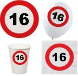 Party Set XL 44 Teile Geburtstag 16 Jahre Verkehrsschild