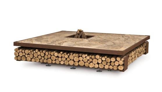 Ak47 Opera Feuerstelle aus Stahl / Wood / Marmor Brown, Green 200 cm