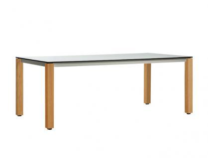 OASIQ MACHAR Gartentisch mit Teakholz Beinen • Outdoor Esstisch 200 cm