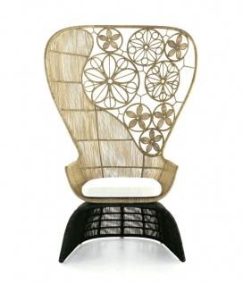 B&B Italia Crinoline Outdoor Sessel mit Abakageflecht 102 cm