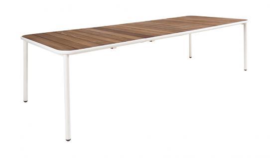 Emu Yard Esstisch • Gartentisch 160 - 270 cm, Aluminiumgestell / Eschenholz Tischplatte