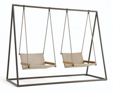 Ethimo Allaperto Nautic Hängesessel • Zweisitzer Gartenschaukel • Teakholz / Flat Rope