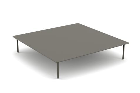 YACHTLINE BITT • Loungetisch 120 cm mit Basis aus lackiertem Edelstahl und Tischplatte aus Glas