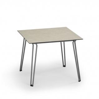Weishäupl Slope Gartentisch mit Edelstahlgestell • Outdoor Esstisch 90 × 90 cm