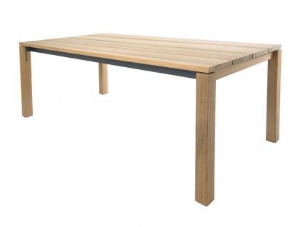 Esstisch June 260 × 95 cm mit eingerückter Zarge anthrazit beschichtet & Teakgestell / Tischplatte von Fischer Möbel