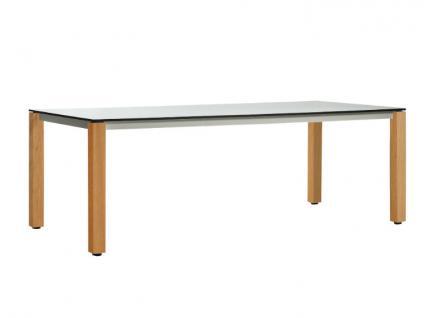 OASIQ MACHAR Gartentisch mit Teakholz Beinen • Outdoor Esstisch 240 cm