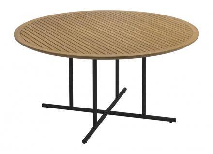 Esstisch Whirl von Gloster mit Teakholz Tischplatte (belattet), Ø 150 cm