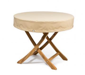 Tischplattenhaube rund mit 15 cm Abhang und Ösen im Saum Ø 130 - 180 cm