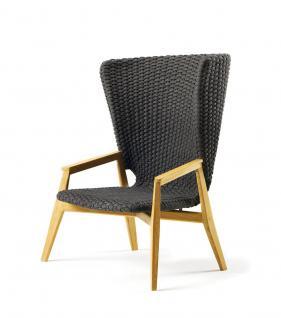 Ethimo Knit Loungesessel mit hoher Rückenlehne Teakholz