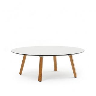 Varaschin Emma Loungetisch Ø 100 / H 39 cm • Irokobeine • HPL bzw. Keramikplatte