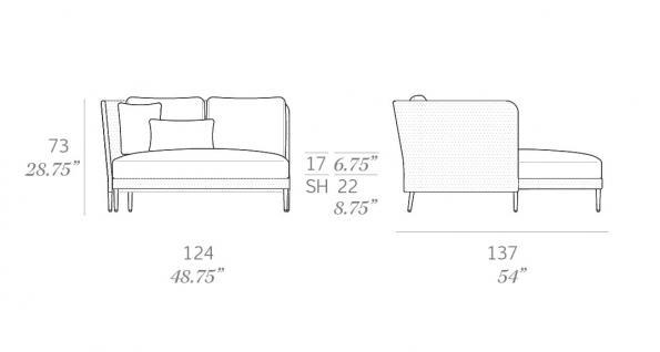 Expormim Käbu Chaiselongue Modul rechts/links • 3D Mesh oder Batyline Senso Bespannung - Vorschau 3