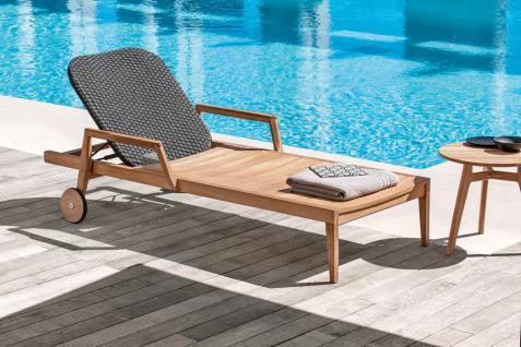 Ethimo Knit Sonnenliege verstellbar, rollbar aus Teakholz - Vorschau 4