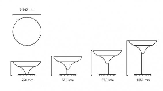 Moree Beistelltisch Lounge M Outdoor H45 cm inkl. Glasplatte Ø 60 cm - Vorschau 2