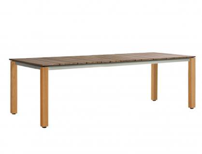 OASIQ MACHAR Gartentisch mit Teakholzbeinen & Tischplatte • Outdoor Esstisch 280 cm