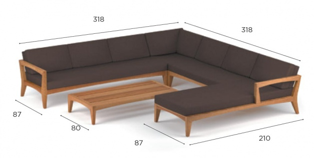 Royal Botania Zenhit Lounge-Set 05 mit Kissen in Standardfarben