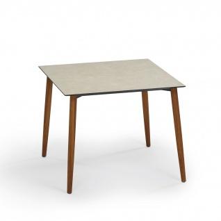 Weishäupl Slope Gartentisch mit Teakholzgestell • Outdoor Esstisch 90 × 90 cm