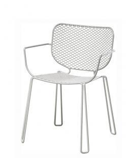4er-Set • Emu Ivy Armlehnstuhl mit Streckmetall Sitz- und Rückenfläche, weiß