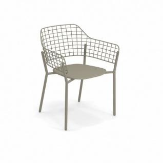 2 Stück • Emu Lyze Gartenstuhl • Armlehnstuhl 62 cm • Aluminium, Edelstahl / Drahtgitter
