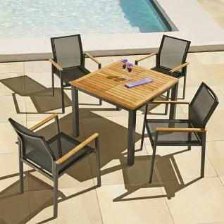 Essgarnitur Aura mit einem 90 cm Esstisch und 4 Armlehnstühlen von Barlow Tyrie