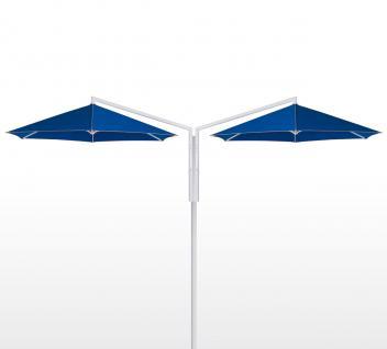 Sonnenschirm Rialto Dual von May, sechseckig 300 cm, Typ RG mit Kurbelantrieb, mit Volant