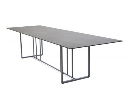 Fischer Möbel Suite Esstisch 200× 95 cm, Gestell Edelstahl geschliffen oder Anthrazit matt beschichtet