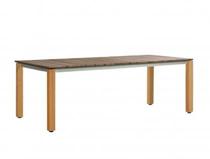 OASIQ MACHAR Gartentisch mit Teakholzbeinen & Tischplatte • Outdoor Esstisch 240 cm