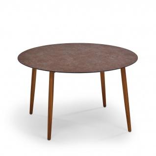 Weishäupl Slope Gartentisch mit Teakholzgestell • Outdoor Esstisch Ø 120 cm