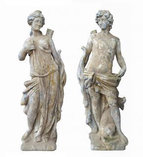 French Pottery Statue Diane & Apollo aus Stein 140 cm