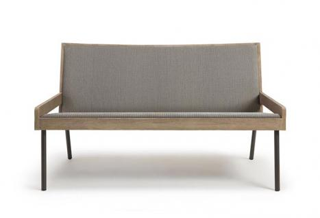 Ethimo Allaperto Urban Loungesofa 124 cm • Metall Coffee Brown + Batyline Cappuccino 1