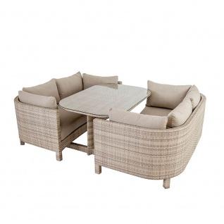 Alexander Rose Ocean Pearl Sunset • Loungesofa Zweisitzer Set mit Sitzkissen inkl. Gartentisch