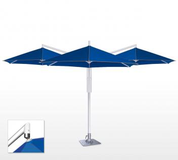 Sonnenschirm Rialto Triple von May, sechseckig 300 cm, Typ RP, mit Volant