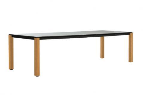 OASIQ MACHAR Gartentisch mit Teakholz Beinen • Outdoor Esstisch 280 cm