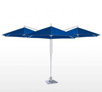 Sonnenschirm Rialto Triple von May, sechseckig 400 cm, Typ RG mit Kurbelantrieb, mit Volant