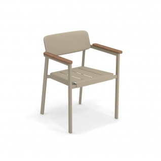 Emu Shine Gartenstuhl • 4 Stück • Outdoor Armlehnstuhl aus Aluminium / Teakholz