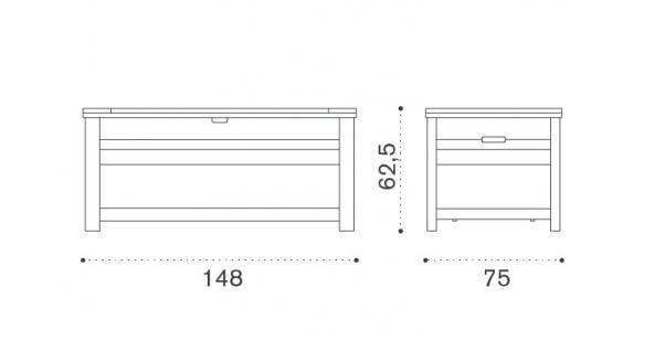 Ethimo T-Box Kissentruhe 148 cm - Vorschau 2