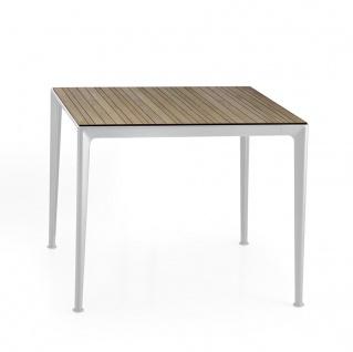 B&B Italia Mirto Outdoor Esstisch 90× 90 cm, Tischplatte Aluminium, Calacatta oder Iroko