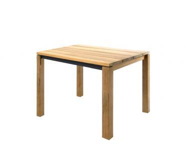 Esstisch June 95 × 95 cm mit eingerückter Zarge anthrazit beschichtet & Teakgestell / Tischplatte von Fischer Möbel