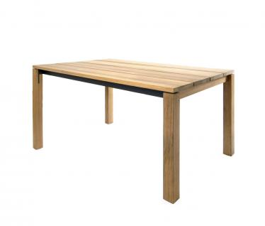 Esstisch June 200 × 95 cm mit eingerückter Zarge anthrazit beschichtet & Teakgestell / Tischplatte von Fischer Möbel