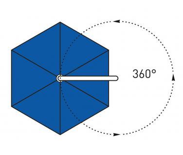 Sonnenschirm Rialto Dual von May, sechseckig 300 cm, Typ RG mit Kurbelantrieb, ohne Volant - Vorschau 4